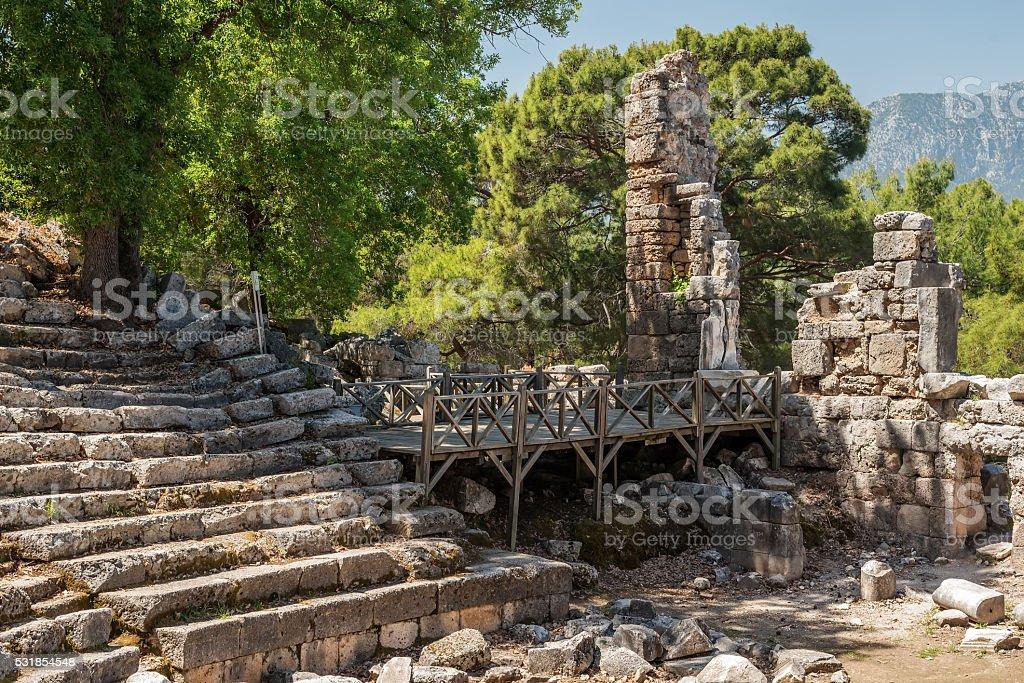Ancient theatre in Antique city of Phaselis, Antalya Destrict, Turkey stock photo