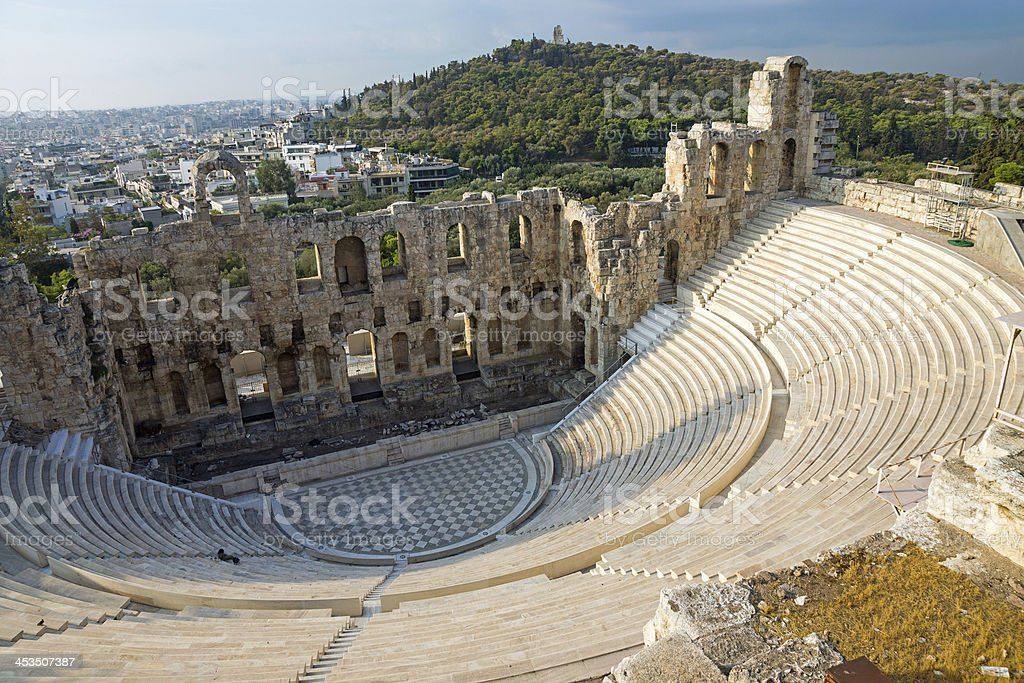 Ancient theatre in Athens stock photo
