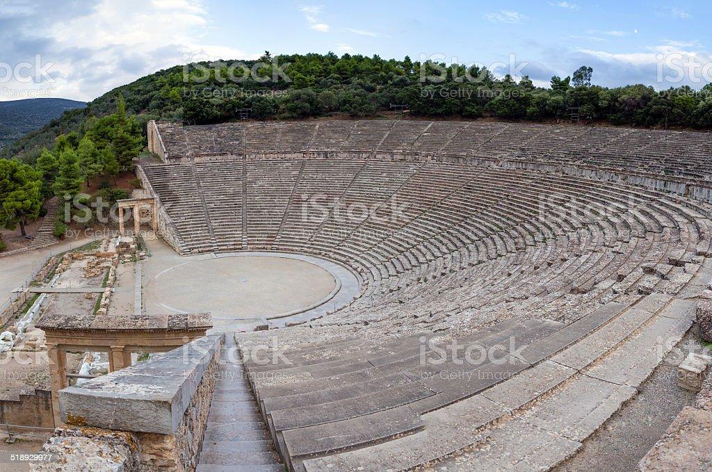 Ancient Theatre of Epidaurus, Peloponnese, Greece stock photo