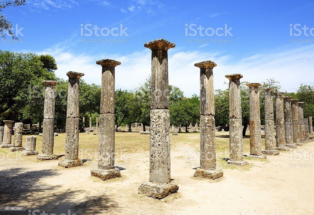 Ancient Theokoleon ruins in Olympia, Peloponnes, Greece stock photo