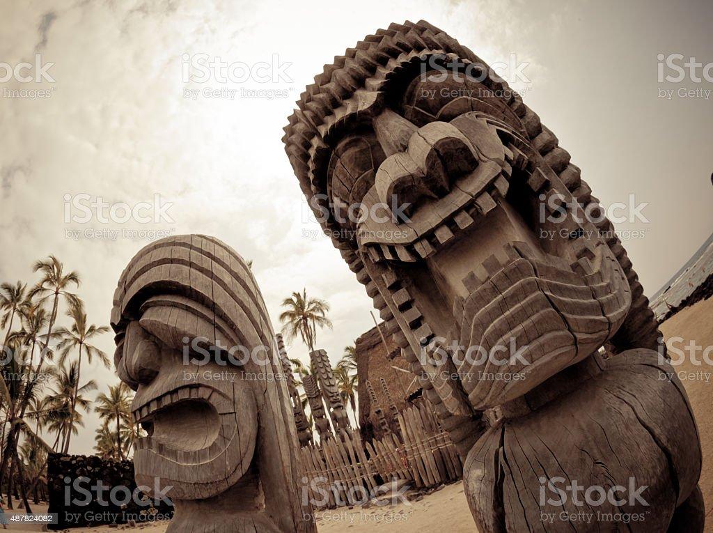 Ancient Tiki Warrior Statues stock photo