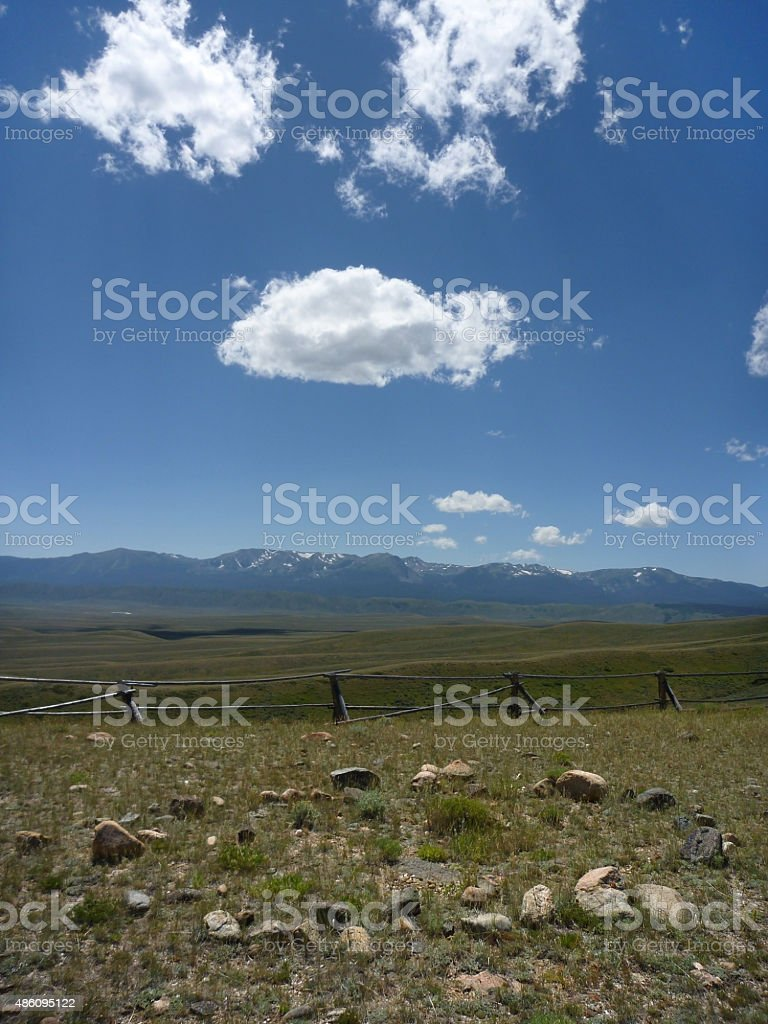 Ancient tipi ring in northern Colorado Rocky Mountains stock photo
