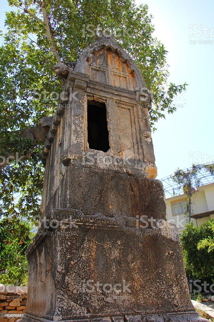 Старинный Гробница в Kas Стоковые фото Стоковая фотография