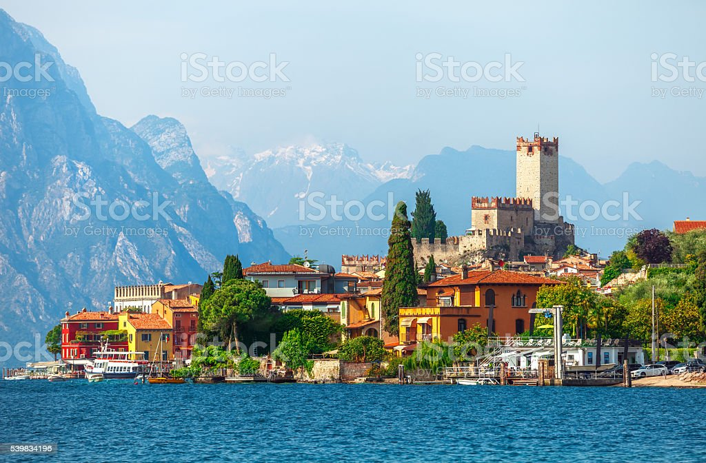 Ancient tower in malcesine old town stock photo