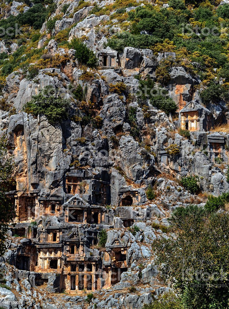 Ancient town in Myra, Turkey - archeology background stock photo