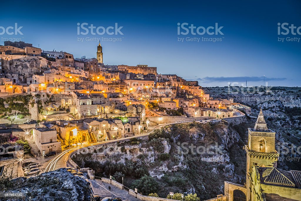 Ancient town of Matera at dusk, Basilicata, Italy stock photo
