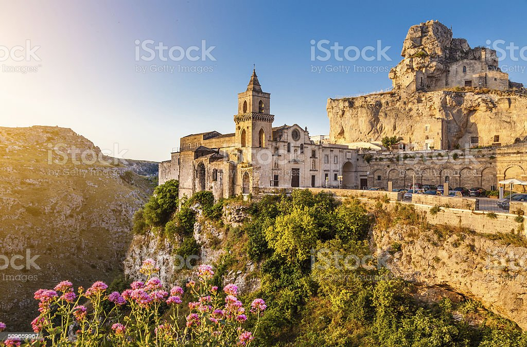 Ancient town of Matera at sunrise, Basilicata, Italy stock photo