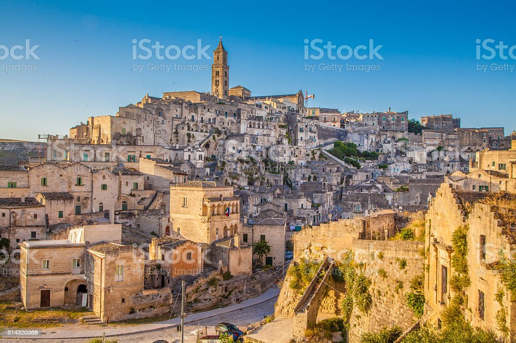 Ancient town of Matera at sunset, Basilicata, Italy stock photo