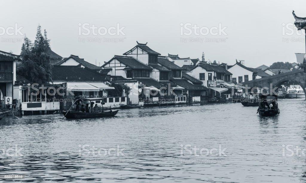 Ancient town of Zhujiajue in Shanghai stock photo