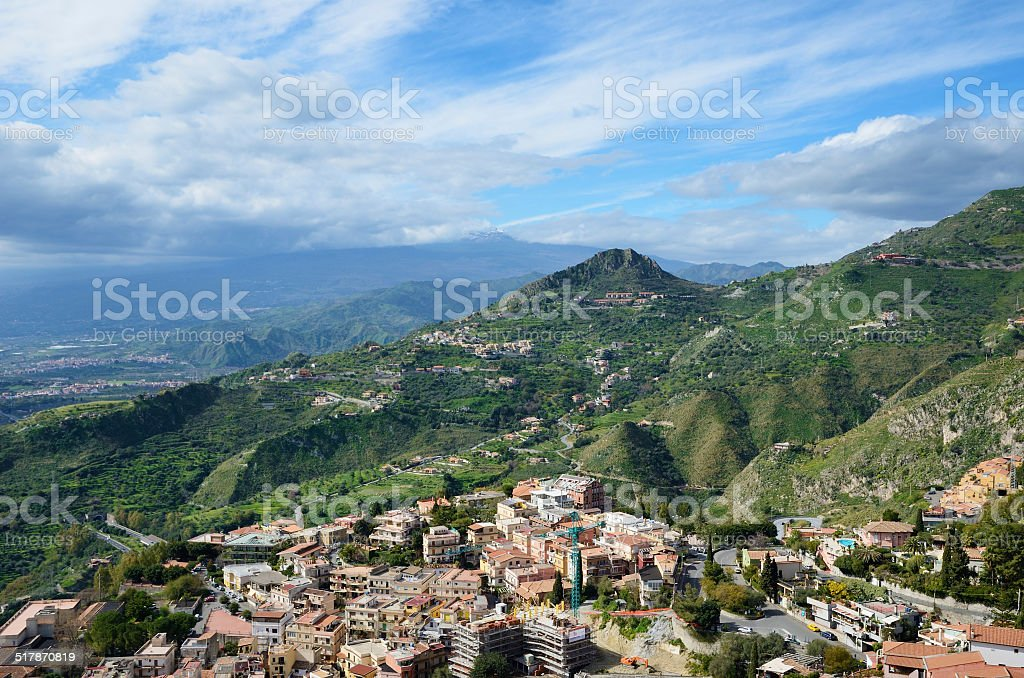 Ancient town Taormina on the Sicilian coast stock photo