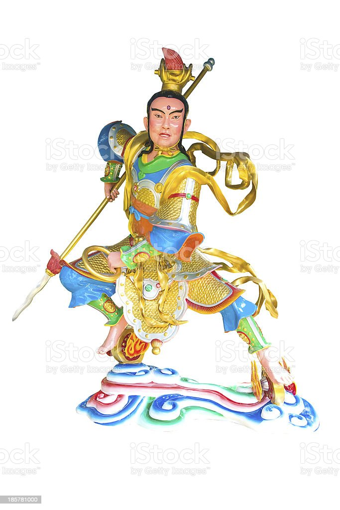 Ancient traditional Chinese god isolated in white stock photo