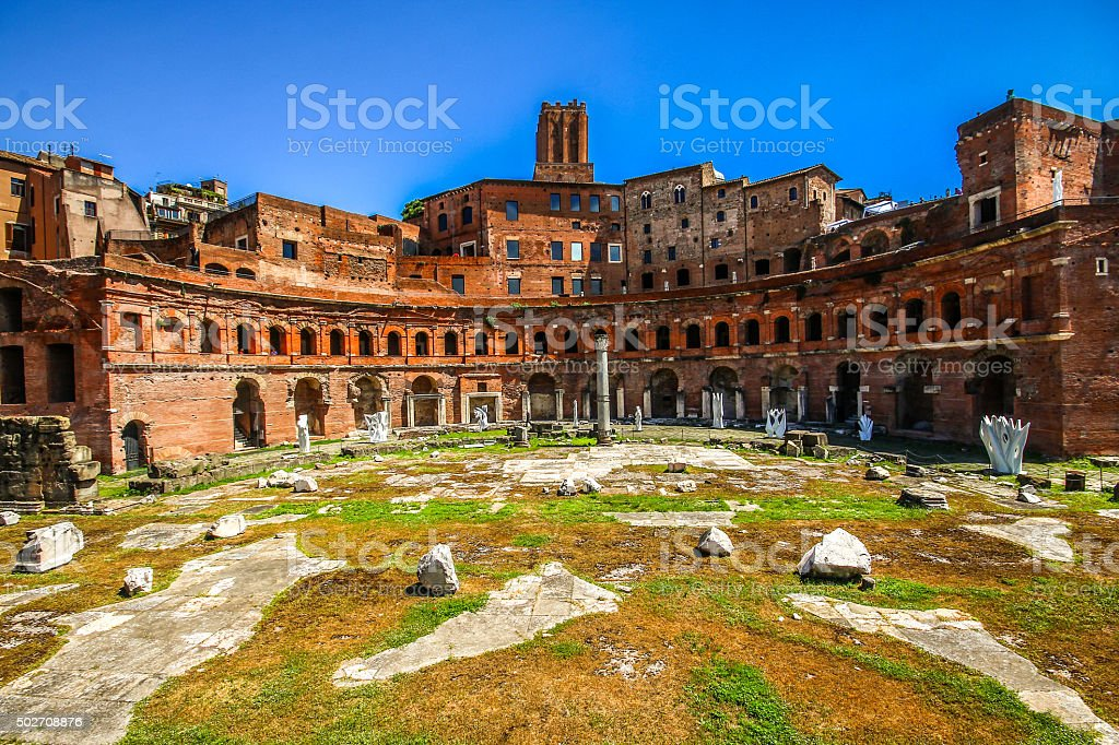 Ancient Trajans Forum in Rome stock photo