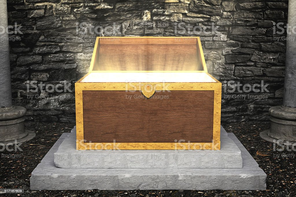 Ancient Treasure Chest With Light stock photo