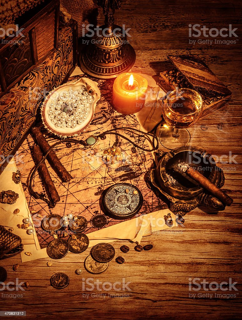 Ancient treasures stock photo