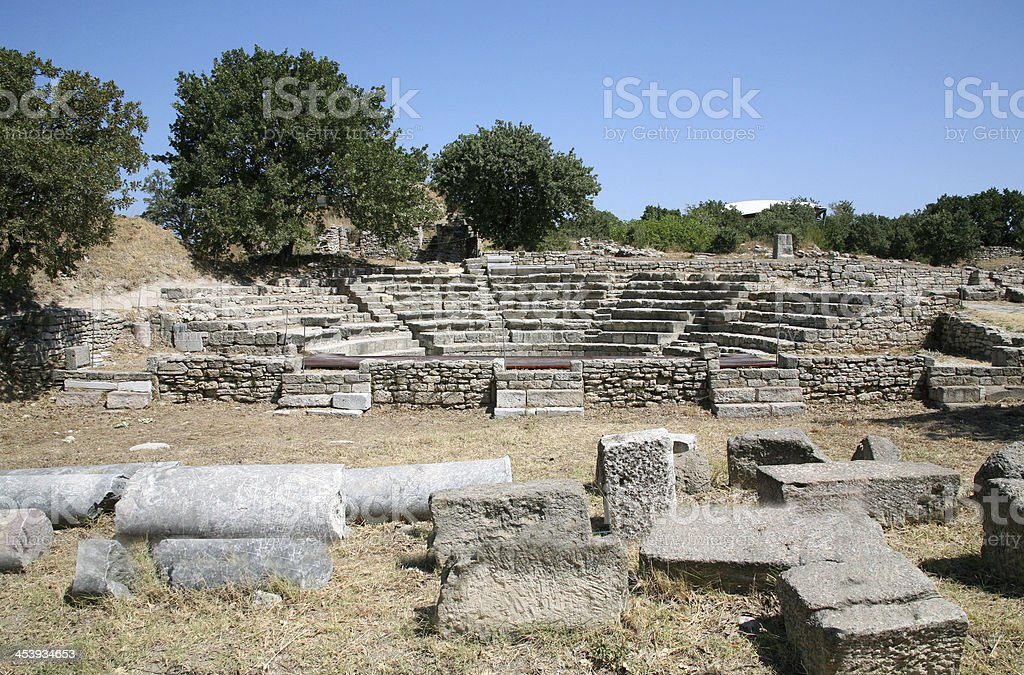 Ancient troy ruins stock photo