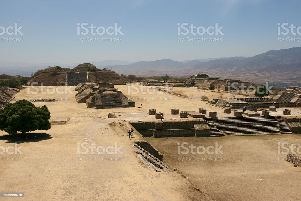 Ancient UNESCO World Heritage ruins on Monte Alban, Oaxaca, Mexico stock photo