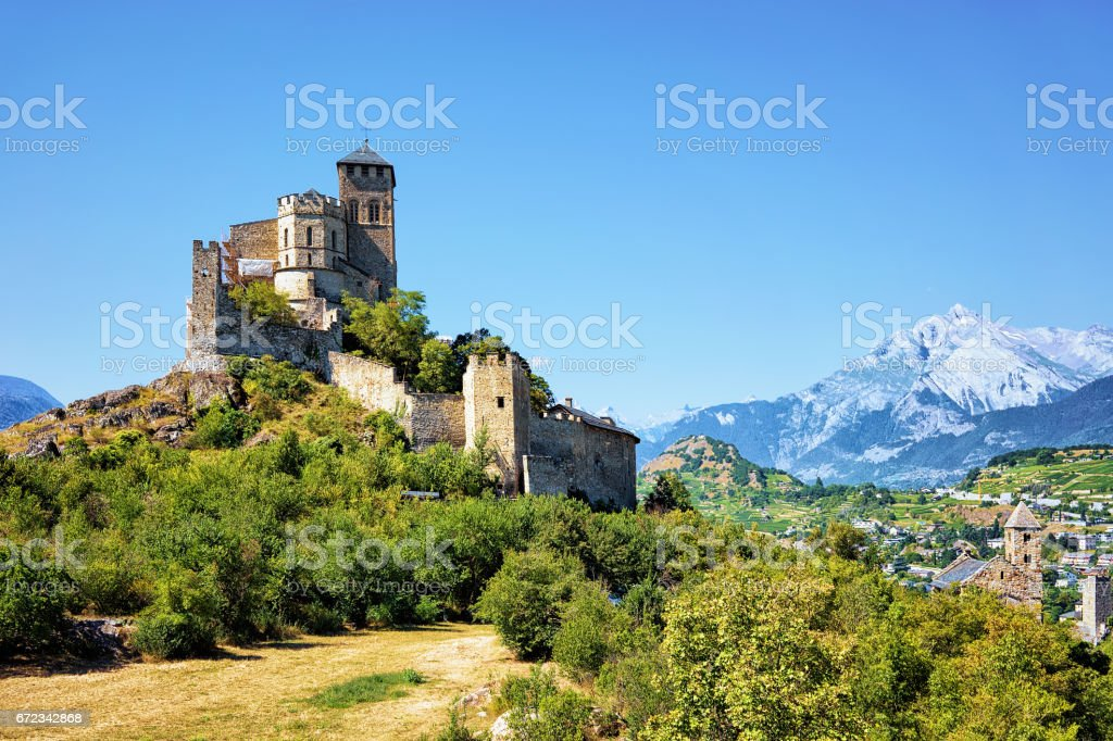 Ancient Valere Basilica on hill at Sion Valais Switzerlnd stock photo