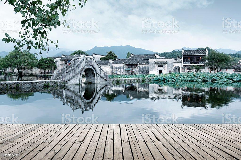 Ancient Village and Ancient Bridge, Anhui, China. stock photo