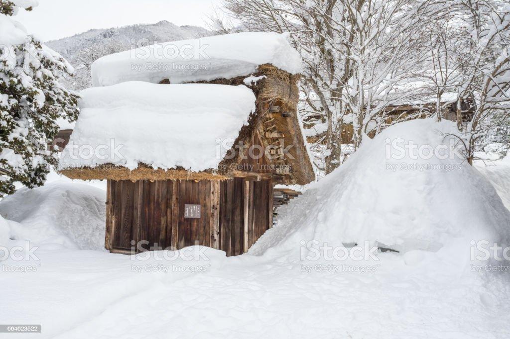 Ancient village in Shirakawago in Japan stock photo