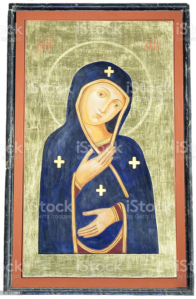 Ancient Virgin Mary Painting. royalty-free stock photo