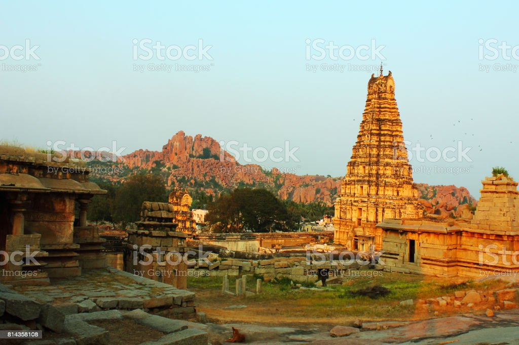 Ancient Virupaksha temple in Hampi, India stock photo