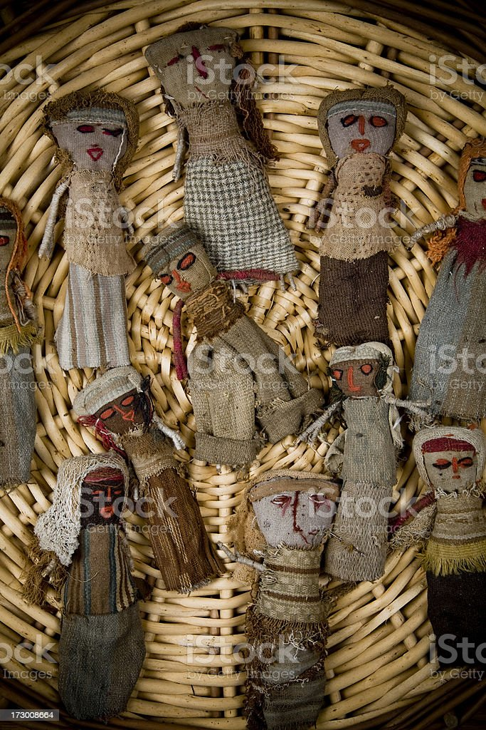Ancient voodoo dolls royalty-free stock photo