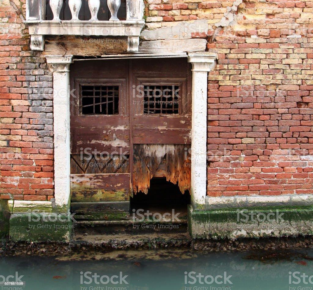 Ancient wall of Venetian house stock photo
