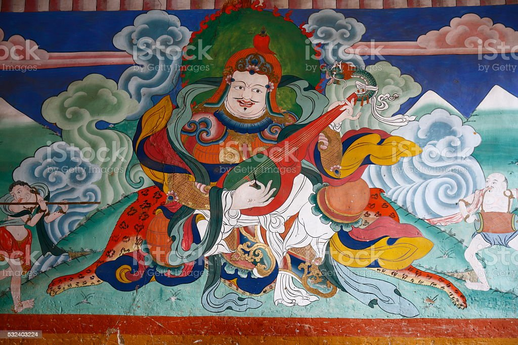 Ancient wall painting in the Tashichho Dzong stock photo