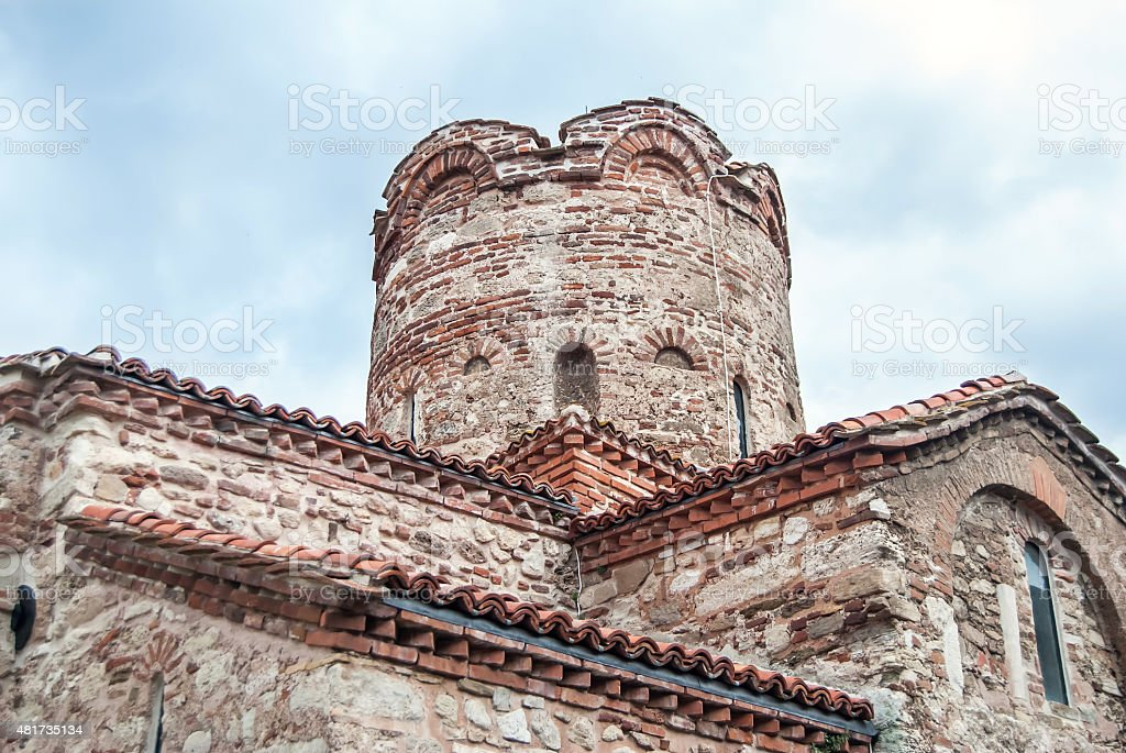 Ancient wall with arch found on Nessebar, Bulgaria stock photo