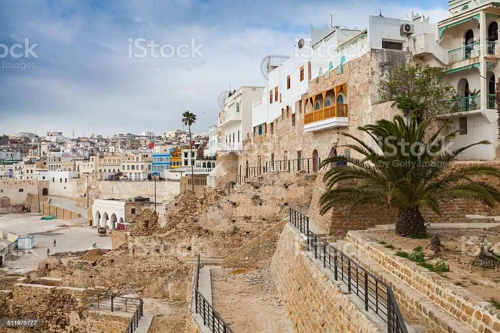 Ancient walls and living houses in Medina. Tangier, Morocco stock photo