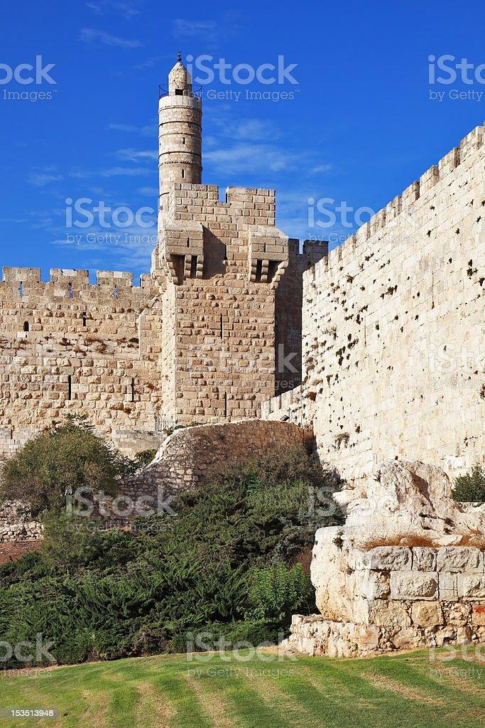 Ancient walls and Tower of David royalty-free stock photo
