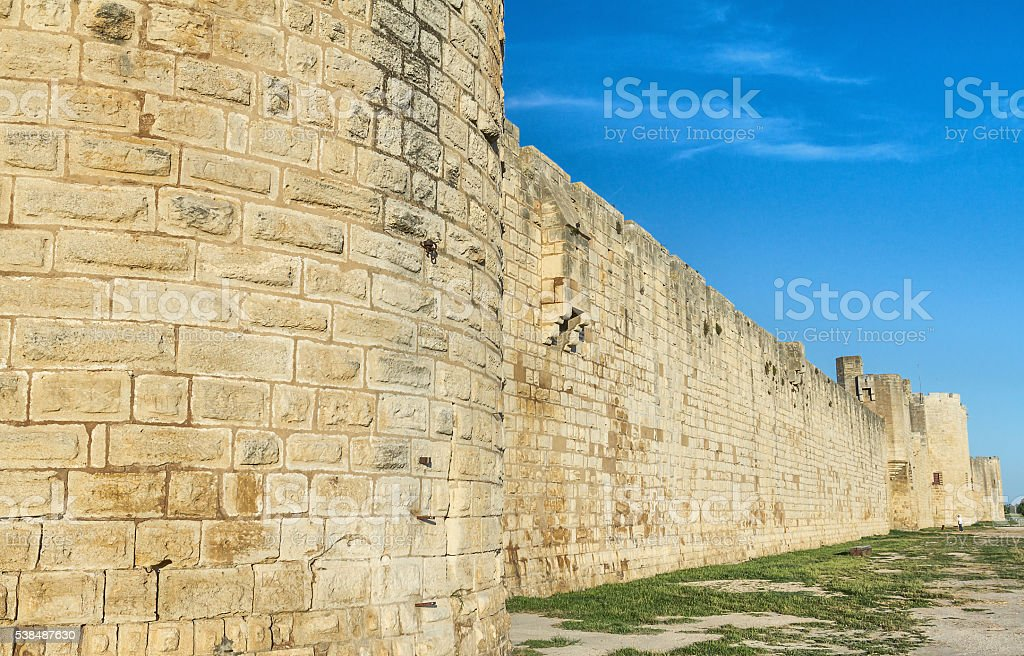 Ancient walls of Aigues-Mortes - Camargue stock photo