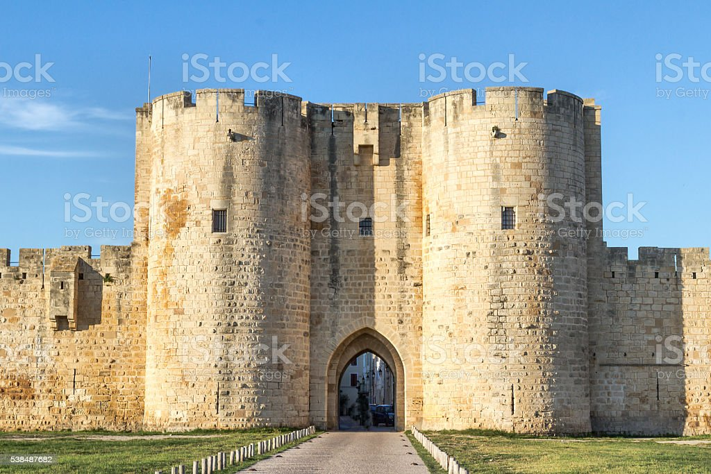 Ancient walls of Aigues-Mortes - Camargue stock photo