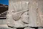 Ancient warrior, destroyed bas-relief in Persepolis