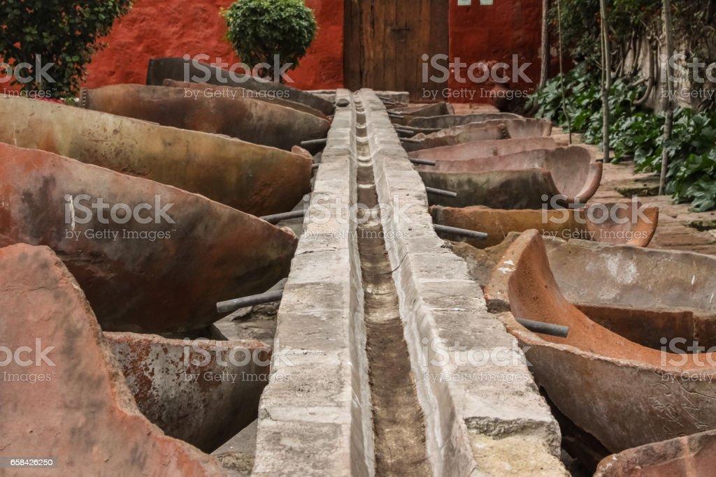 Ancient water pipe, Santa Catalina Monastery, Arequipa stock photo