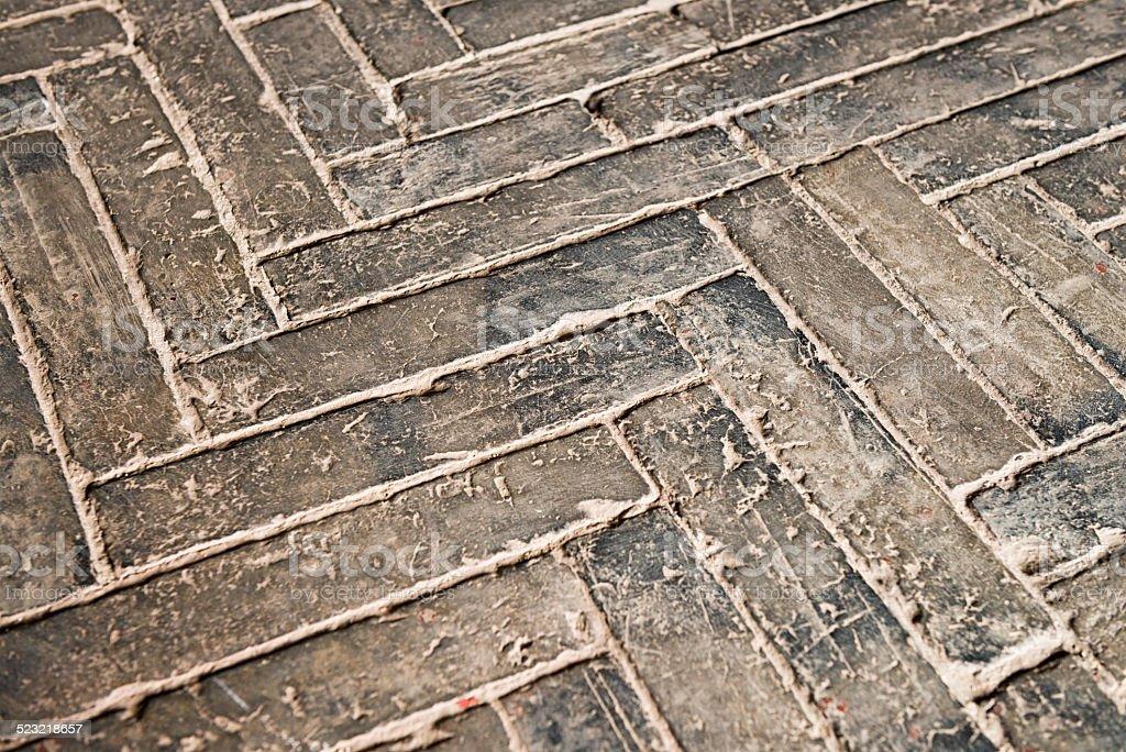 Ancient weathered stone floor stock photo