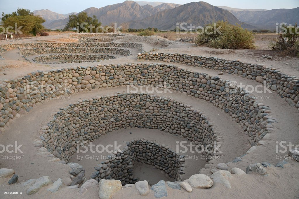 Ancient wells near town Nazca. Peru. stock photo
