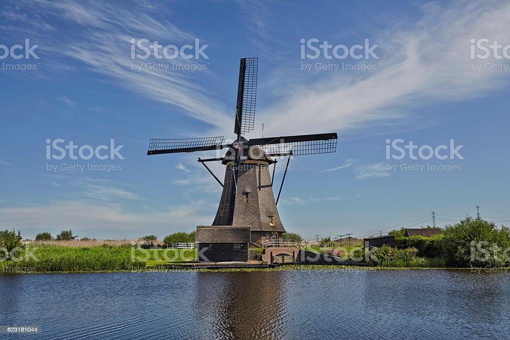 Ancient windmills near Kinderdijk, Netherlands stock photo