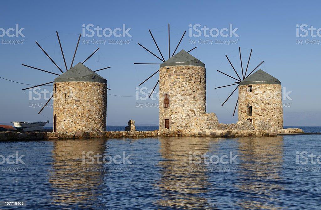 ancient windmills stock photo