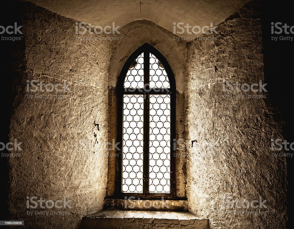 Ancient Window in an old german castle stock photo