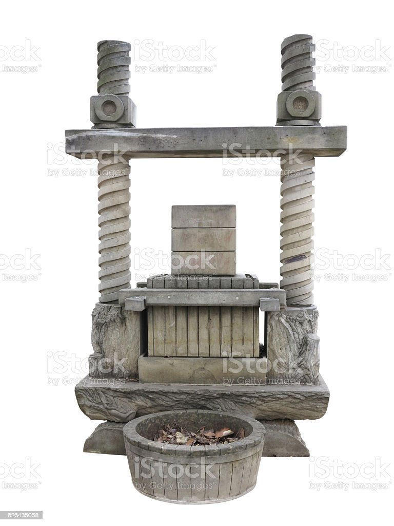 Ancient wine press old stone concept isolated on white stock photo