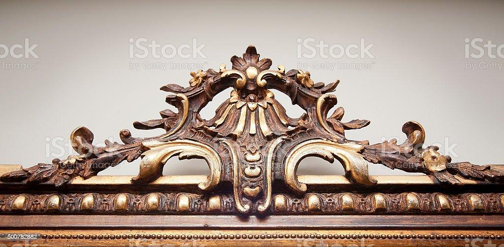 Ancient wood craft work stock photo
