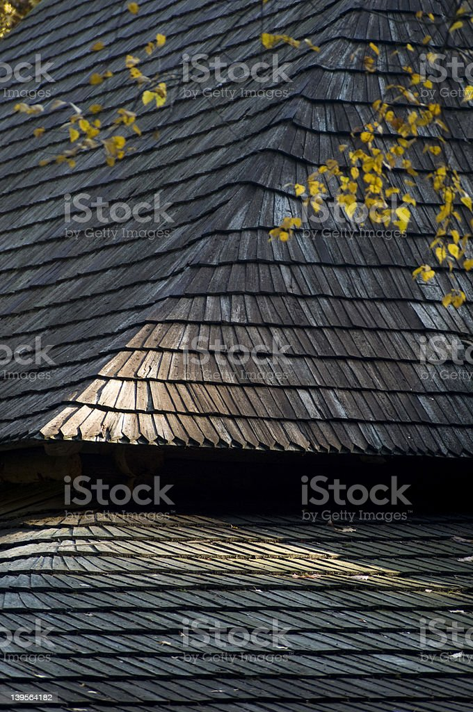 ancient wood roof royalty-free stock photo