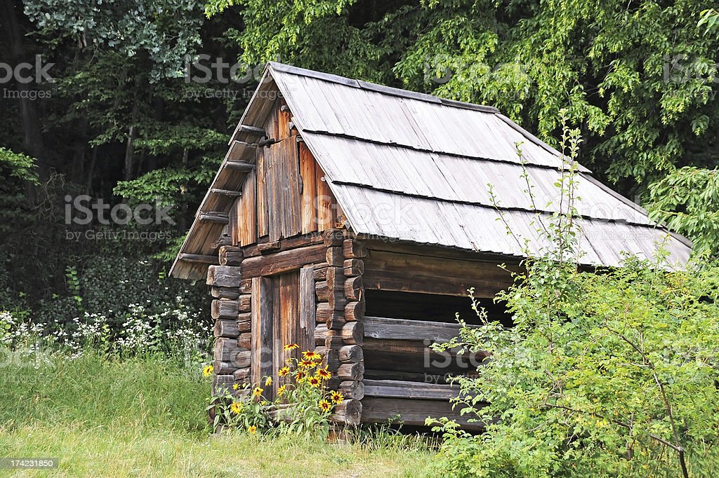 Ancient wooden barn stock photo