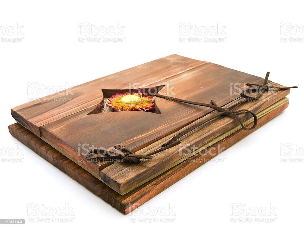 ancient wooden book stock photo