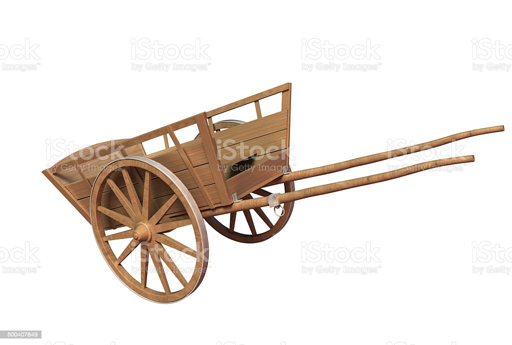 Ancient wooden cart stock photo