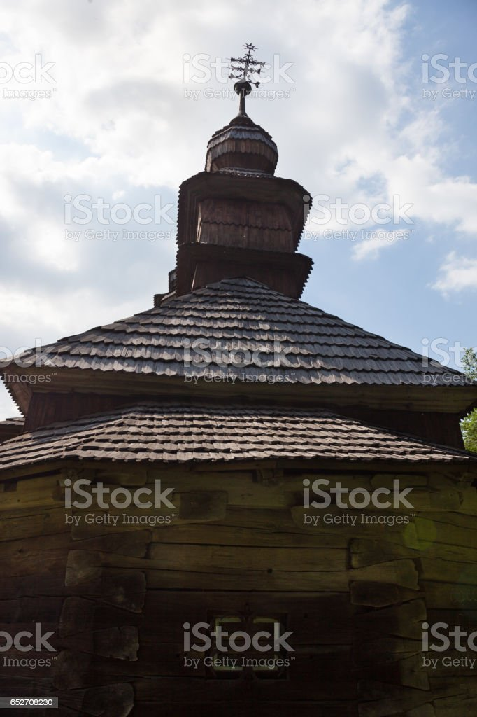 Ancient wooden church from the Carpathians stock photo
