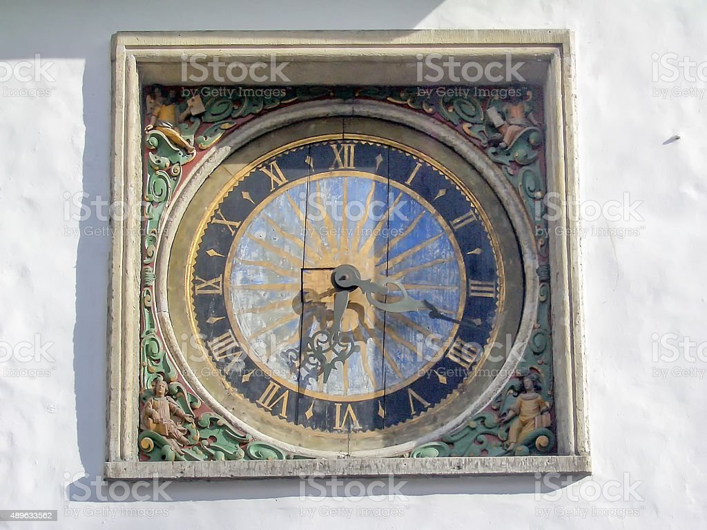Ancient Wooden Clock, Church of the Holy Ghost in Tallinn stock photo