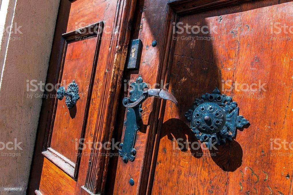 Ancient Wooden Door in Old Town Prague stock photo
