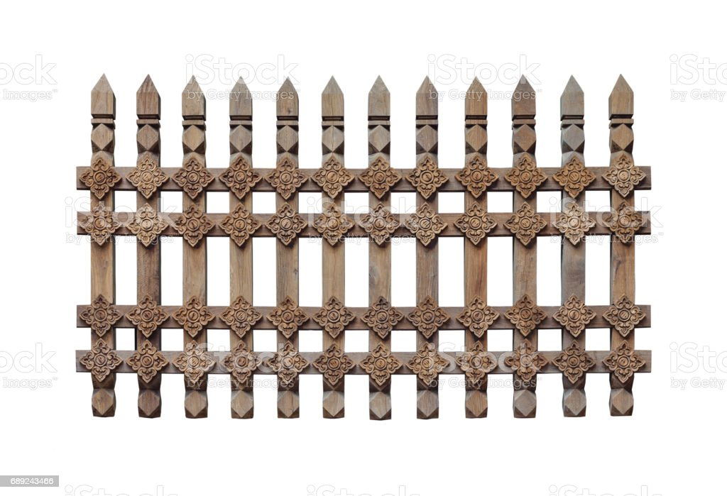 Ancient wooden fence isolated on white background. stock photo